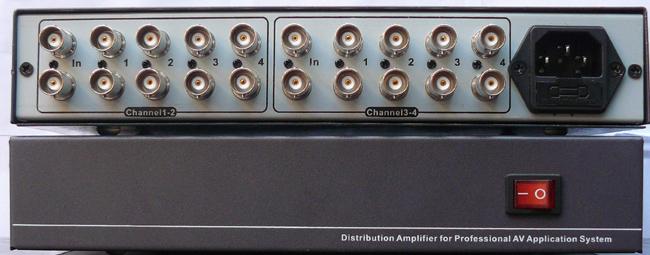 分配器内置高性能的处理芯片,可以将同时多组进来的1路监控cvbs复合