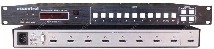 8进1出hdmi切换器 8口hdmi切换器 高清切换器 红外,串口rs232控制