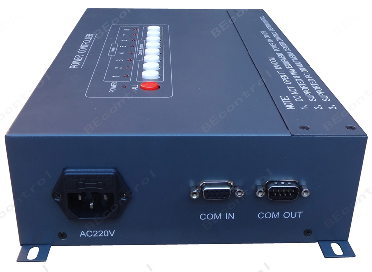 产品描述: PWR8电源控制器是针对多媒体教室、多功能厅、会议室、投影拼接、视频会议、监控中心、楼宇控制、管理指挥中心等领域设备较多,电网容易受到冲击而研发的一款智能电源控制器,它具有良好的兼容性能,采用国际上标准通用的RS-232串口通讯接口,极大的方便了同各类核心控制单元的连接通讯;加上开放式的RS-232控制代码,工程人员可以随意设置电源的顺序启动、顺序关闭、延时关机、贵重设备保护等智能化控制;单路负载可达到30A输出。 技术参数: 串行数量控制方式:支持最大255台级联; 兼容中控系统:BEco